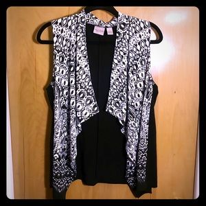 Easywear by Chico's open black and white Vest SZ M
